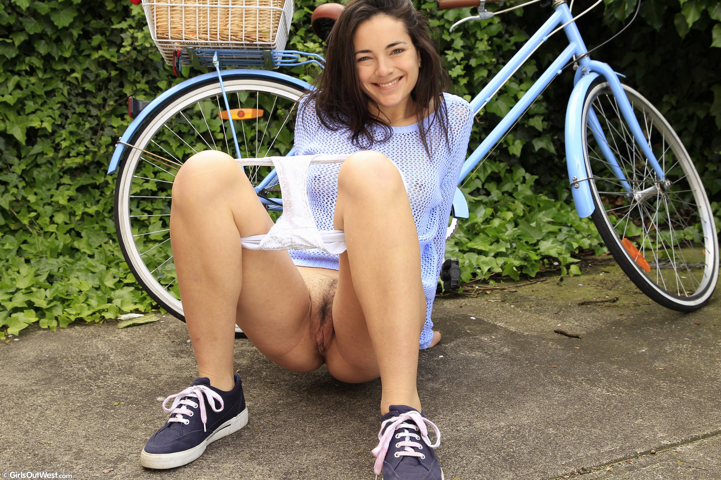 Hairy Amateur Cutie Loves Her Bike | Girls Out West Free Stuff