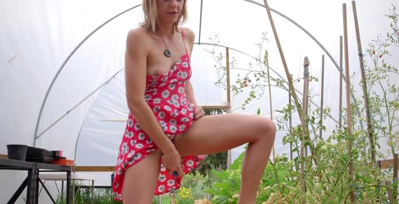 Hairy Cunt Gets Toyed In The Garden