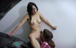 Brunette Girls Loretta Wolf & Violet Russo Fuck in The Garage